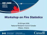 Workshop on Fire Statistics - National Research Council Canada