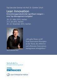 Top Executive Seminar mit Prof. Dr. Günther Schuh Lean Innovation