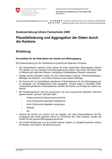 Plausibilisierung und Aggregation der Daten durch die ... - SBBK