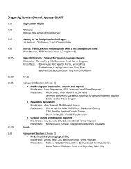 Oregon Agritourism Summit Agenda - DRAFT - Oregon Small Farms