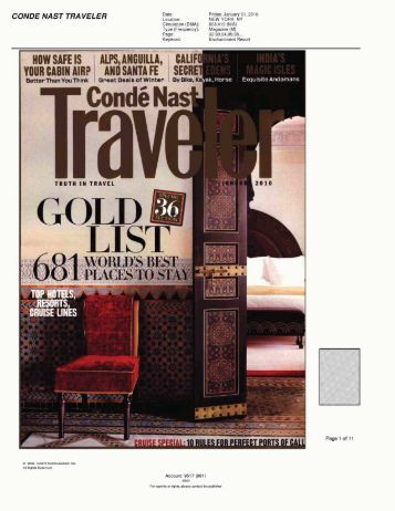 """""""Gold List: World's Best Places to Stay"""" -- Conde Nast Traveler"""