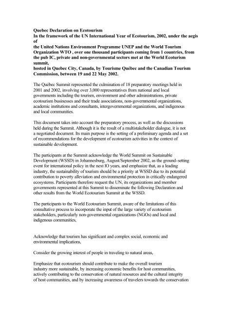 Québec Declaration on Ecotourism