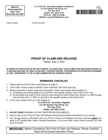 Proof Of Claim Form