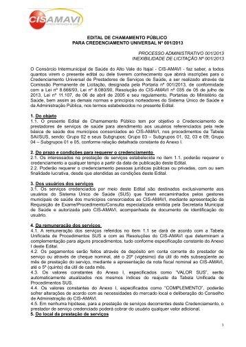 Edital de Credenciamento nº 01-2013CIS-AMAVI