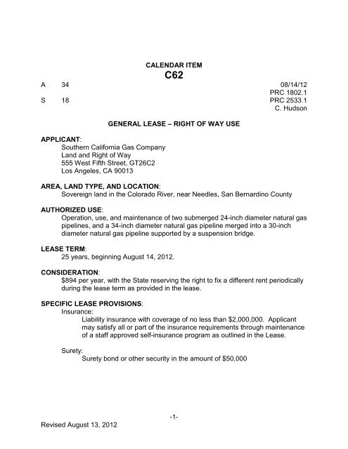 southern california gas company - CA State Lands Commission