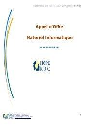 Appel d'Offre Matériel Informatique - mediacongo.net