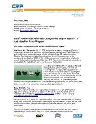Rein Automotive Adds New OE Hydraulic Engine Mounts To Anti ...