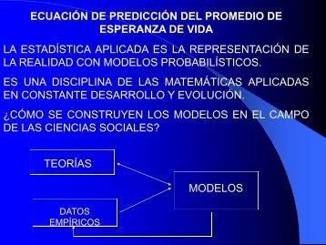 ecuación de predicción del promedio de esperanza de vida