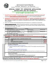 SPECIAL EVENT TFF OPERATOR APPLICATION - City Of Ventura