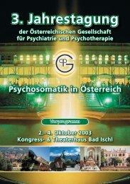 3. Jahrestagung Psychosomatik in Österreich 2.– 4. Oktober ... - ÖGPP