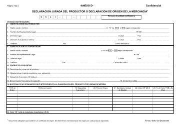 Confidencial DECLARACION JURADA DEL PRODUCTOR O ...