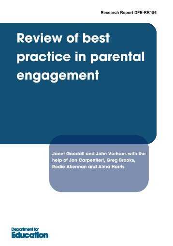 review of best practice in parental engagement - Department for ...