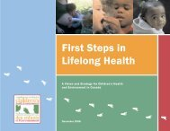 First Steps in Lifelong Health — A Vision and Strategy for Children's ...