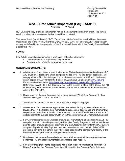 Q2a First Article Inspection Fai As9102 Lockheed Martin