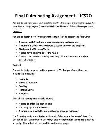 Final Culminating Assignment – ICS2O
