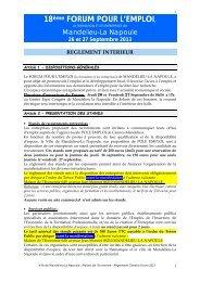 REGLEMENT GENERAL DU FORUM POUR L'EMPLOI, LA FORMATION ET LES ...