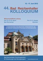 44. Bad Reichenhaller Kolloquium – Hauptprogramm - Intercongress