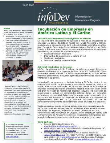 Business Incubation in Latin America & the Caribbean - infoDev