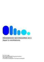 RÉSIDENCES SECONDAIRES 2014 Appel à candidatures - Cipac