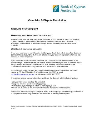 Complaint & Dispute Resolution - Delphi Bank