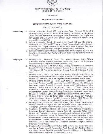Peraturan Daerah Kota Ternate Nomor 24 Tahun 2011