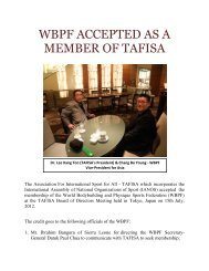 WBPF ACCEPTED AS A MEMBER OF TAFISA - ABBF
