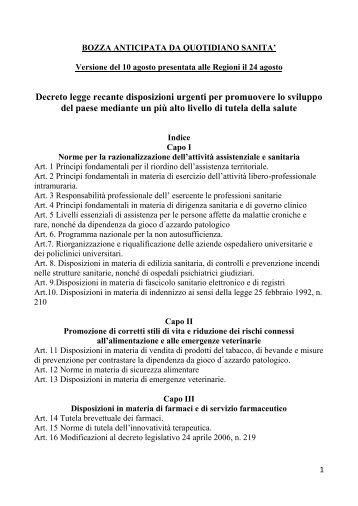 Decreto legge recante disposizioni urgenti per ... - Quotidiano Sanità