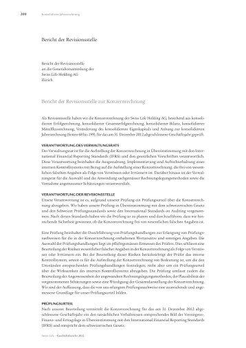 Bericht der Revisionsstelle Bericht der Revisionsstelle zur ...