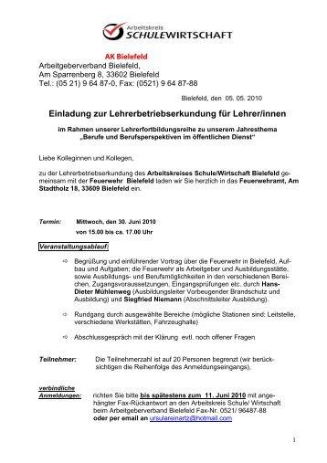 Einladung zur Lehrerbetriebserkundung für Lehrer/innen