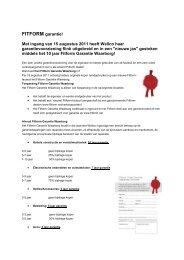 FITFORM garantie! Met ingang van 15 augustus 2011 heeft Wellco ...