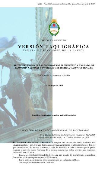 VERSIÓN TAQUIGRÁFICA - Honorable Senado de la Nación