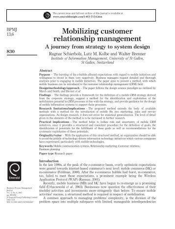 Mobilizing customer relationship management