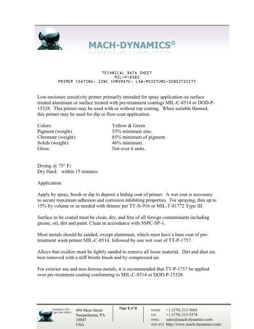 Technical Data Sheet MIL-P-8585 - Mach-Dynamics