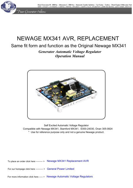 [SCHEMATICS_4UK]  NEWAGE MX341 AVR, REPLACEMENT - Soonwell.com | New Age Generator Wiring Diagram For |  | Yumpu