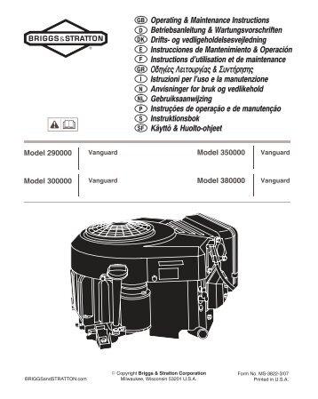 Operating & Maintenance Instructions Betriebsanleitung ...