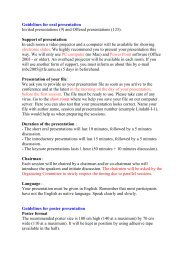Guidelines for oral presentation Invited presentations (9) and ...