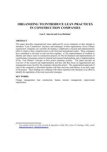 organizing to introduce lean practices in construction companies
