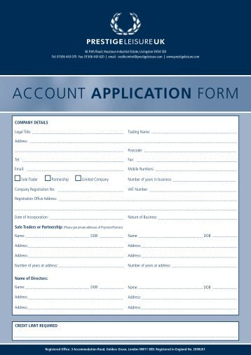 Account Application Form (.pdf) - Prestige Leisure