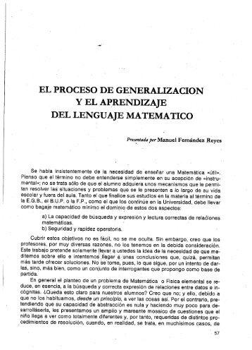 EL PROCESO DE GENERALIZACION Y EL APRENDIZAJE