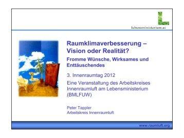 Einführung in die Thematik (DI Peter Tappler, AK Innenraumluft ...