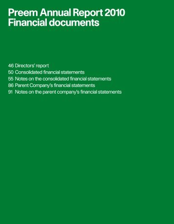 Preem Annual Report 2010 Financial documents