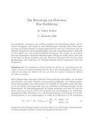 Zur Bewertung von Derivaten Eine Einführung