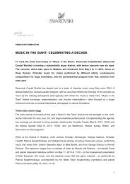 Press Release Music in the Giant 2013 - Swarovski Kristallwelten