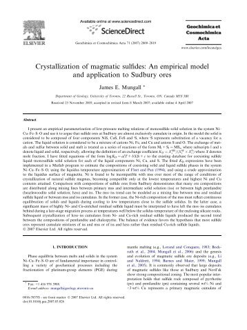 Crystallization of magmatic sulfides: An empirical model and ...