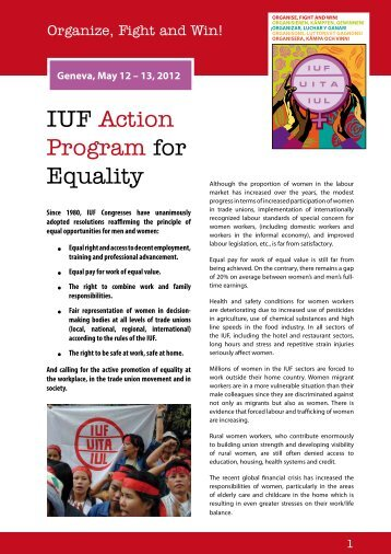 Organize, Fight and Win - IUF Action Program for Equality - AMIEU