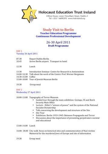 Study Visit to Berlin - Holocaust Education Trust of Ireland