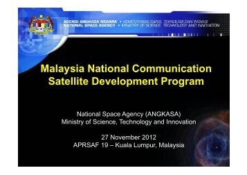 Malaysian National Communications Satellite ... - APRSAF