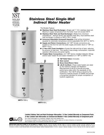 Stainless Steel Single-Wall Indirect Water Heater - California Boiler