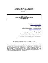université du québec à montréal - Département de science politique