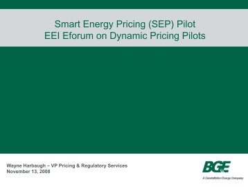 BGE Dynamic Pricing Pilots and Results - Edison Foundation